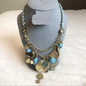 Erica Lyons Gold & Blue Beaded Necklace